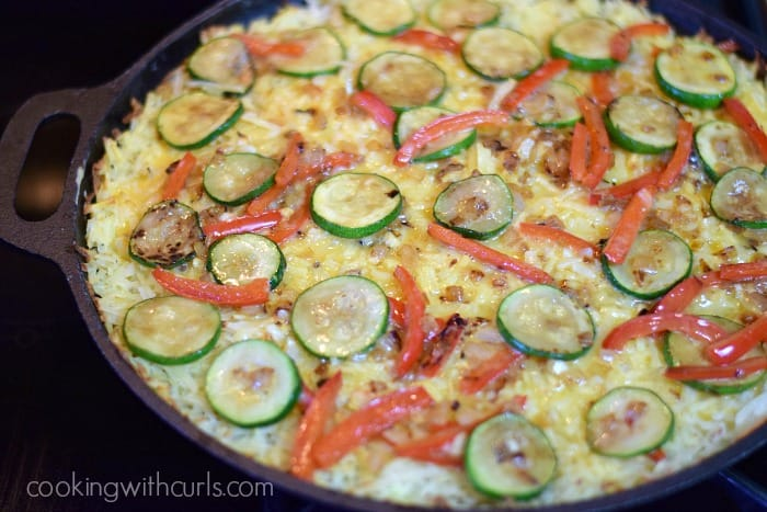 Breakfast Pizza with Hash Brown Crust bake 2 cookingwithcurls.com