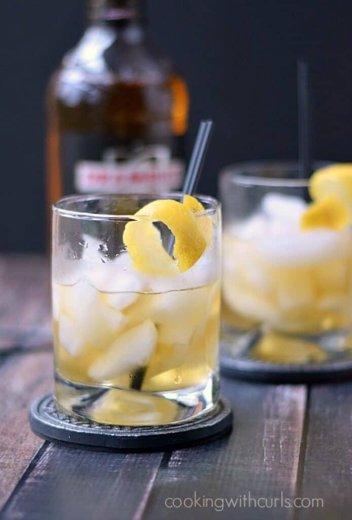 This smooth tasting Rusty Nail Cocktail is made with only two ingredients and a lemon twist! cookingwithcurls.com