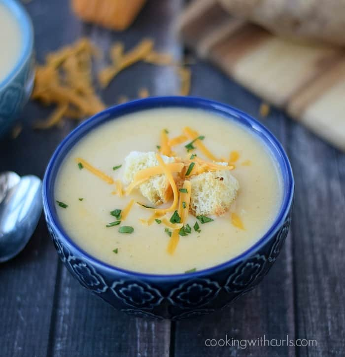 Creamy Potato Cheese Soup  cookingwithcurls.com