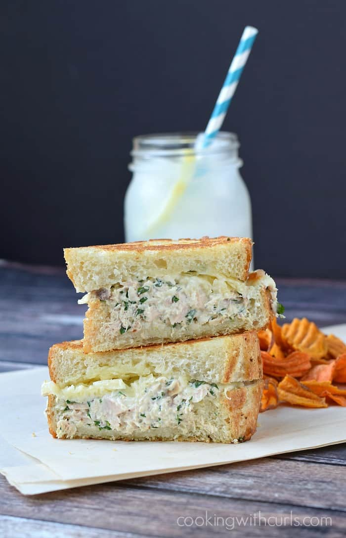 Gourmet Tuna Melt from Cooking with Curls featured on Belle of the Kitchen