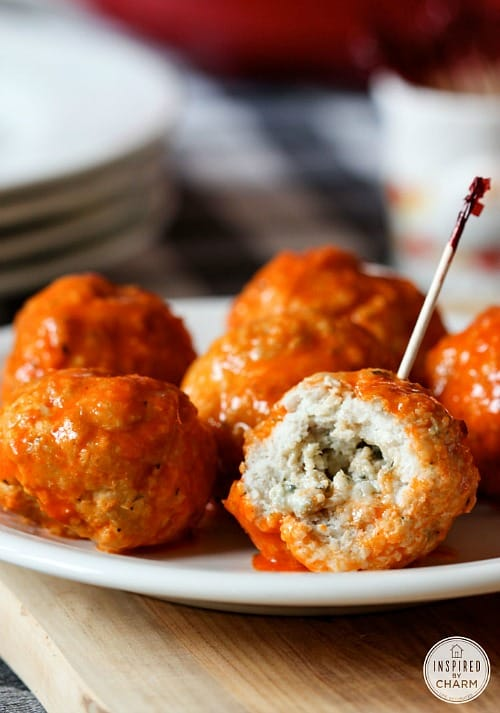 Game Day Snacks - Blue Cheese Stuffed Buffalo Meatballs