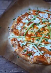 Buffalo Chicken Pizza - perfect for game day | cookingwithcurls.com
