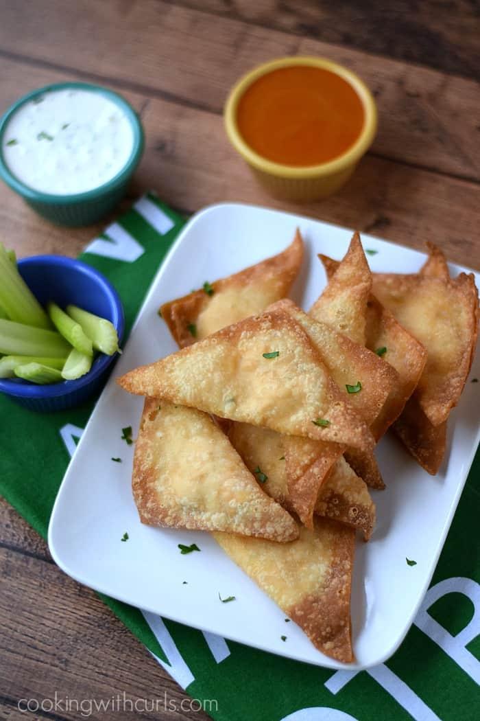 Buffalo Chicken Rangoons | cookingwithcurls.com | #gamedayfood