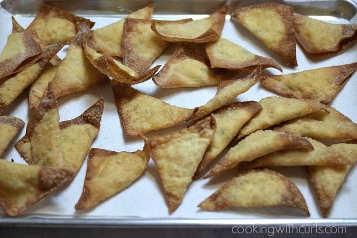 Buffalo Chicken Rangoons drain cookingwithcurls.com