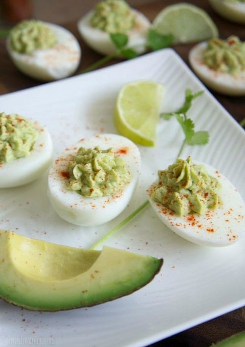 Game Day Snacks - Guacamole Deviled Eggs
