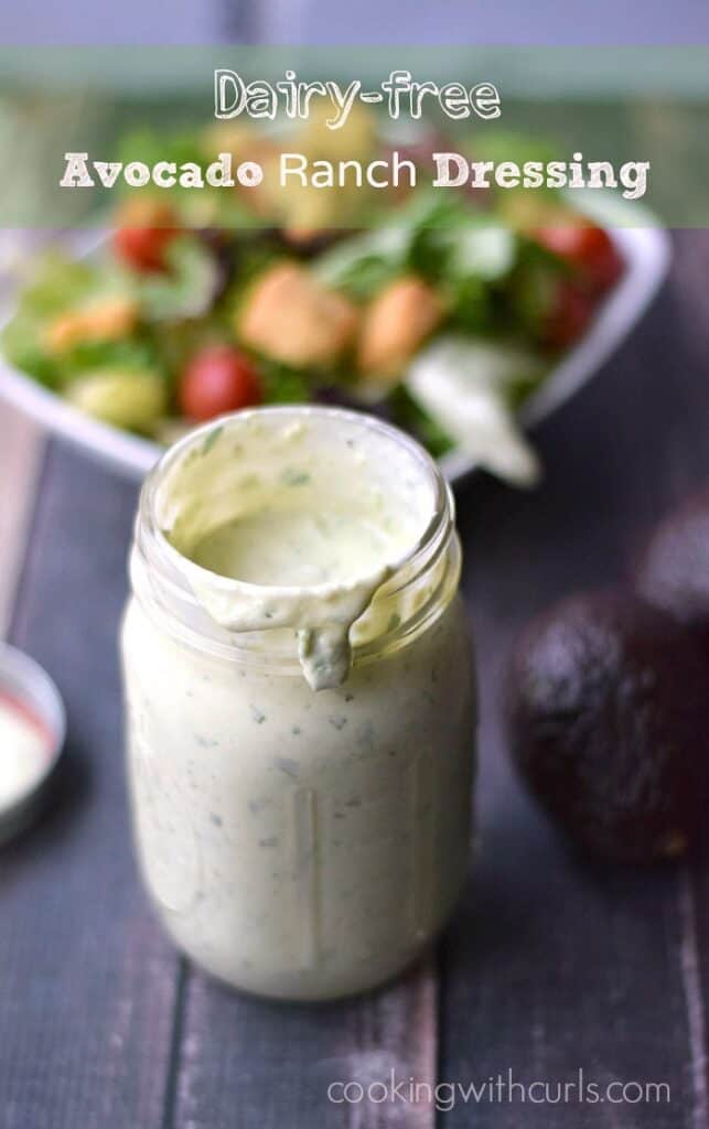 Jazz up your salads with this thick and creamy Avocado Ranch Dressing that can be made dairy-free, Whole30 and Paleo! cookingwithcurls.com