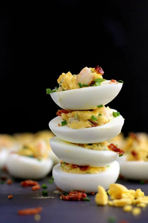 Game Day Snacks - Shrimp and Bacon Stuffed Deviled Eggs