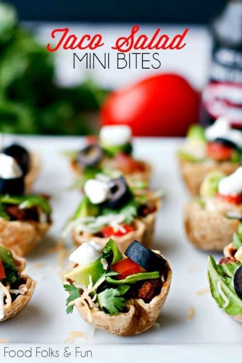 Game Day Snacks - Taco Salad Mini Bites