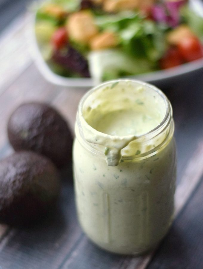 Thick and creamy Avocado Ranch Dressing is a fun twist on an old favorite! cookingwithcurls.com