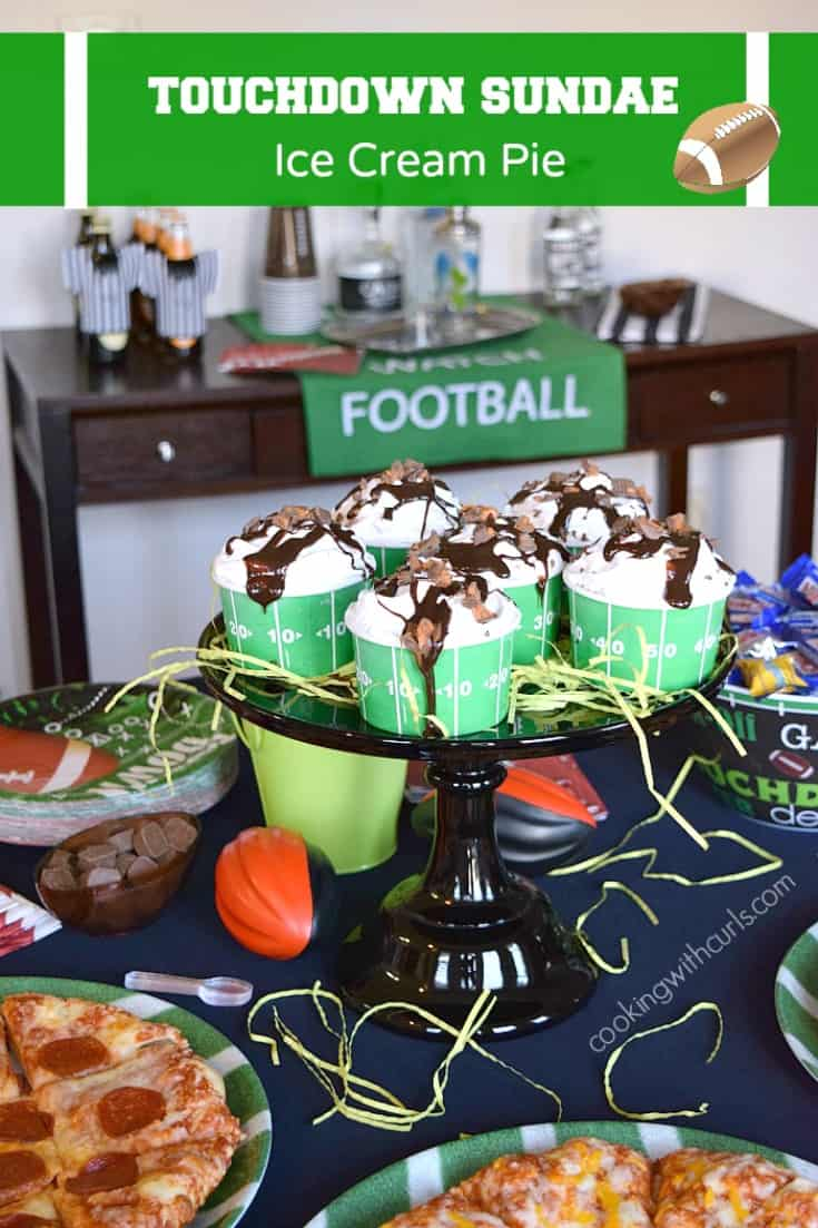 Game day party scene with pizza, ice cream sundaes and bowls of candy