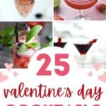 A graphic image with four pink cocktails and 25 valentine's day cocktails written below in pink.