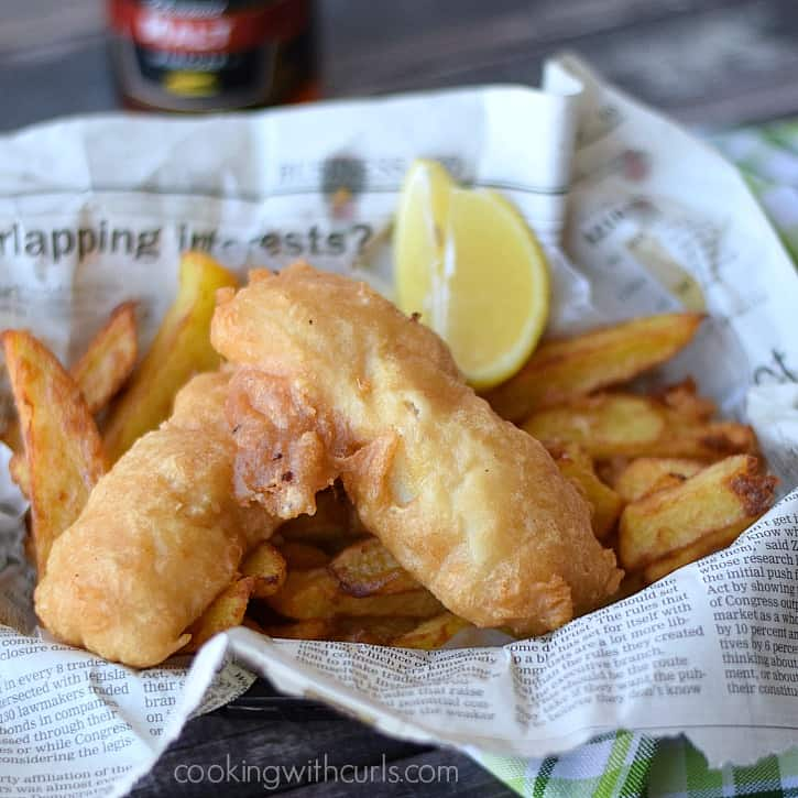 Crispy, traditional Beer Batter Fish and Chips | cookingwithcurls.com