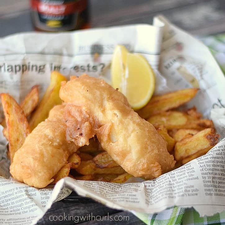 Crispy traditional-style Beer Batter Fish and Chips | cookingwithcurls.com_