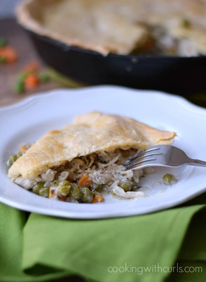 Skillet Chicken Pot Pie slice | cookingwithcurls.com