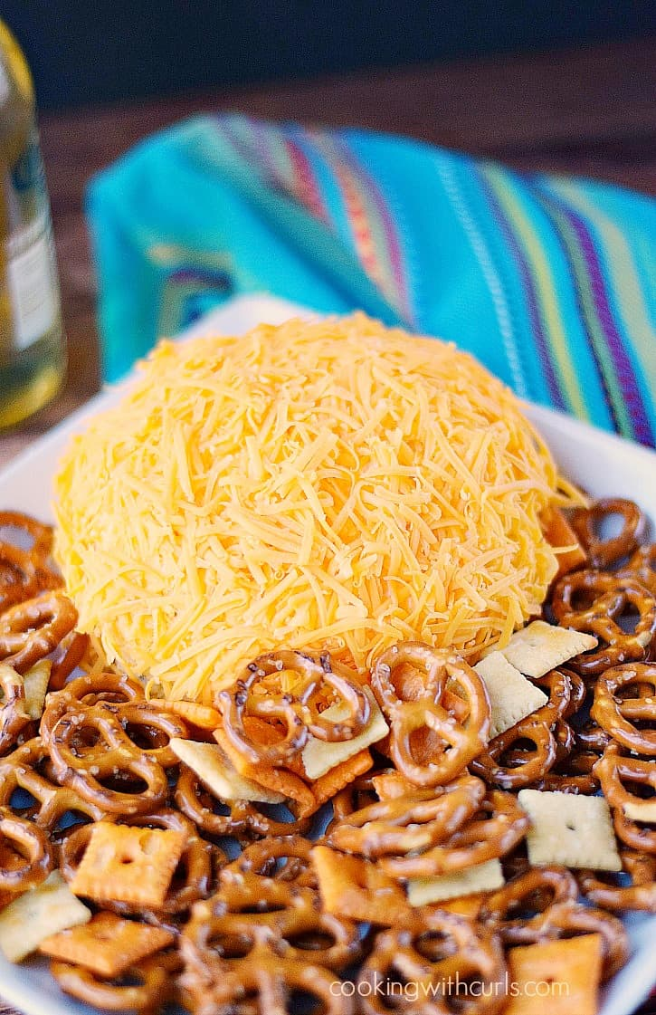 cheddar cheese covered cheeseball surrounded by pretzels and crackers on a white plate