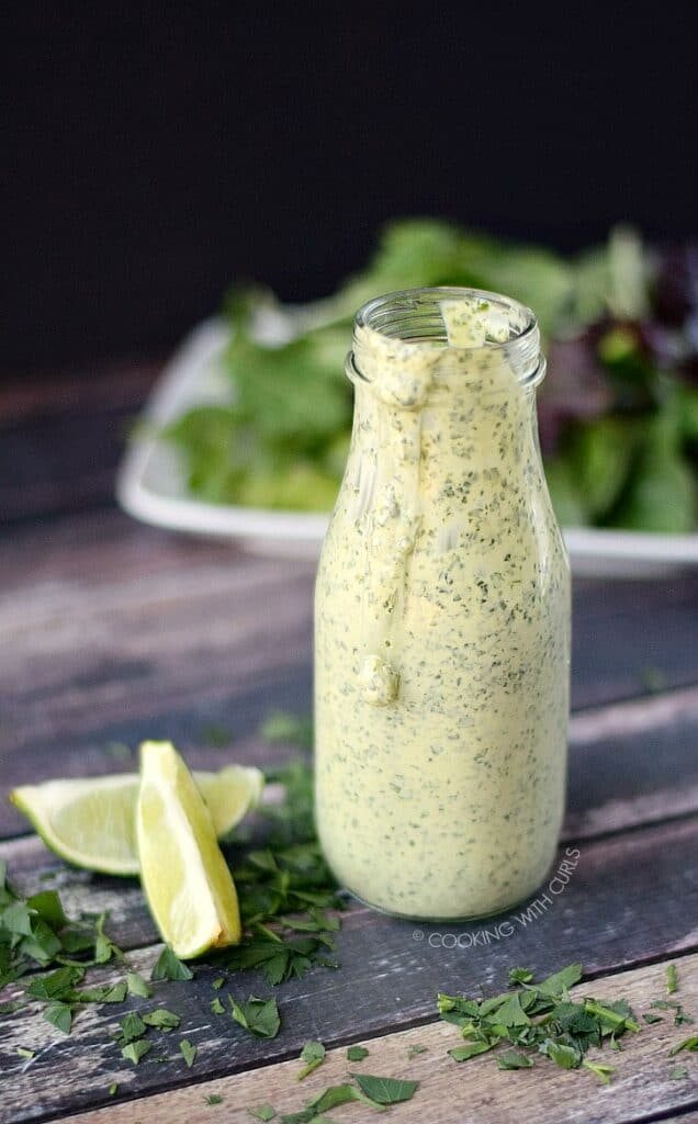 This Creamy Cilantro Lime Dressing is the perfect way to top off your salad and works great as a Dipping Sauce too!! cookingwithcurls.com