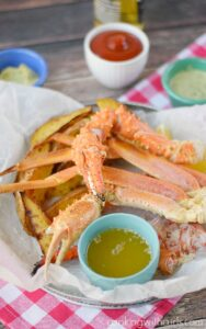 Wild Alaska Crab Legs served with three dipping sauces. cookingwithcurls.com