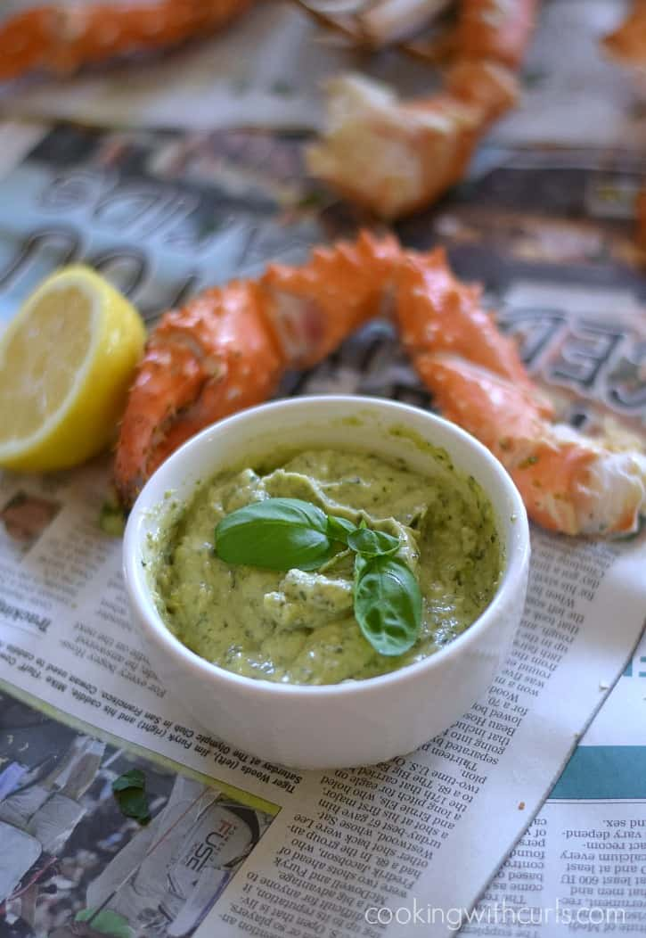 Wild Alaskan Crab Legs with Basil Pesto Mayo | cookingwithcurls.com