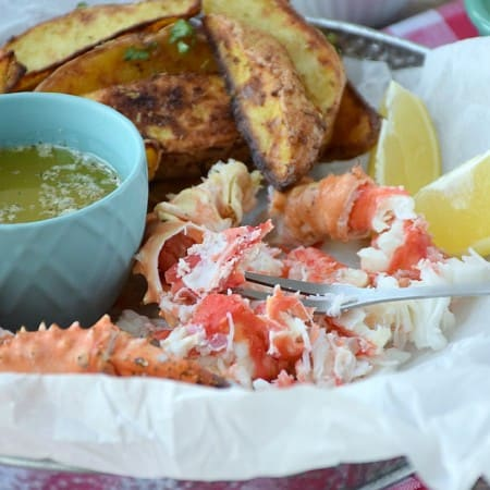 Wild Alaskan Crab Legs with Garlic Herb Butter | cookingwithcurls.com