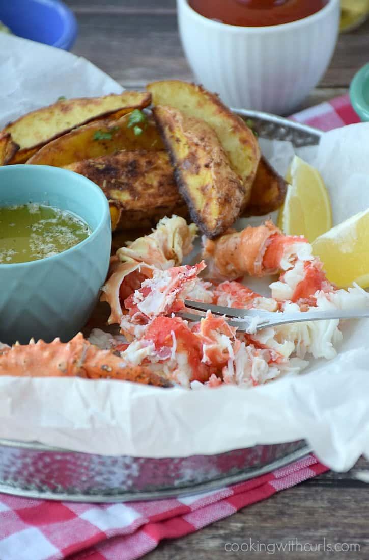 Wild Alaskan Crab Legs with Garlic Herb Butter | cookingwithcurls.com