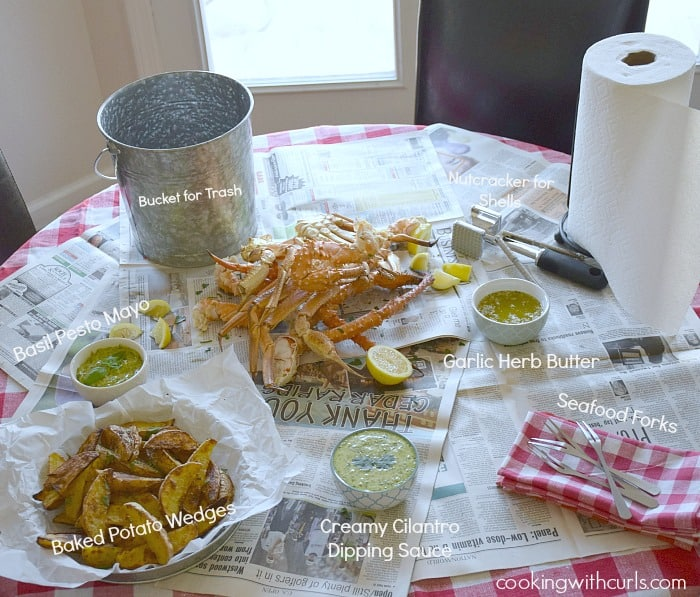 Wild Alaskan Crab Legs with dipping sauces and potato wedges | cookingwithcurls.com