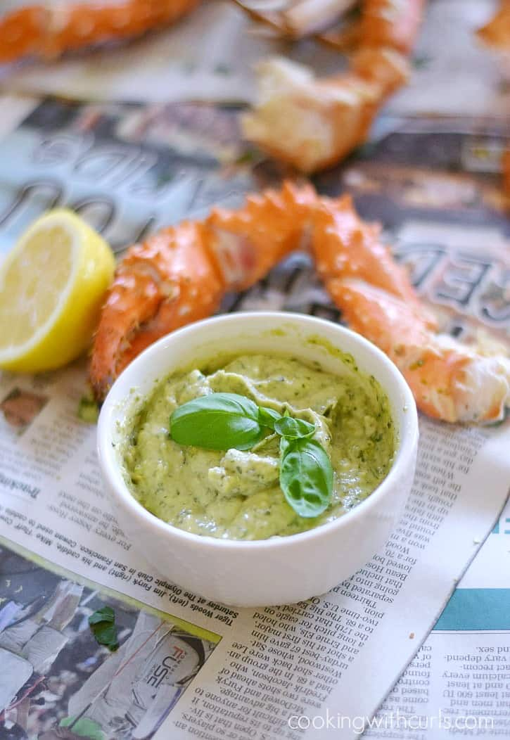 Wild Alaskan Crab Legs with Basil Pesto Mayo cookingwithcurls.com
