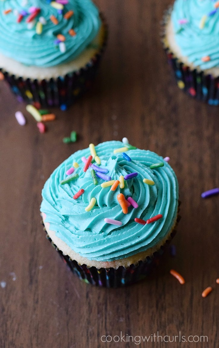 Homemade Funfetti Cupcakes with Perfect Buttercream and Sprinkles | cookingwithcurls.com