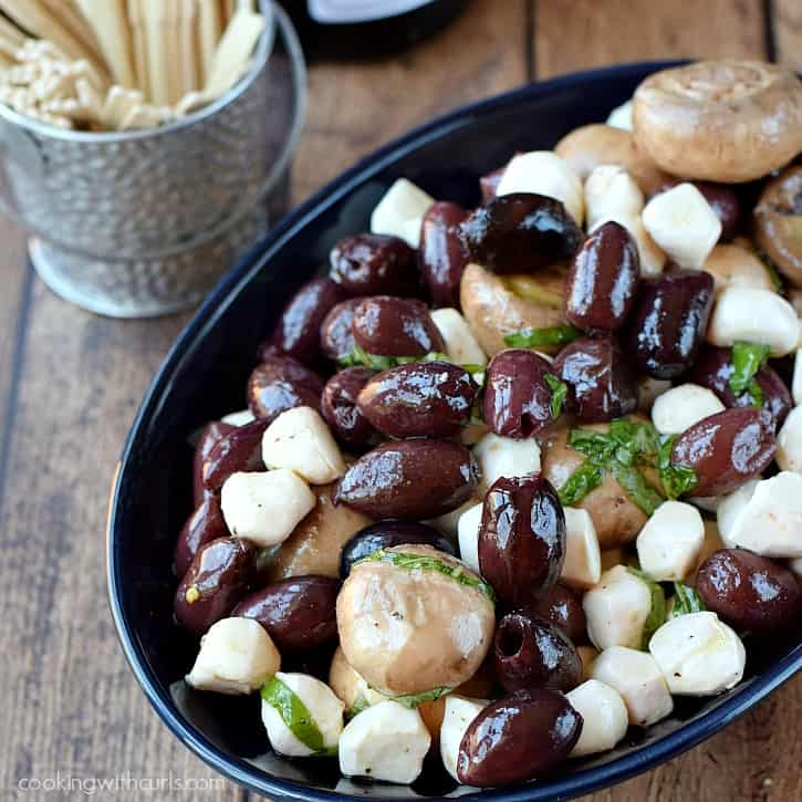 Marinated Olives, Mushrooms, and Mozzarella for your next party cookingwithcurls.com