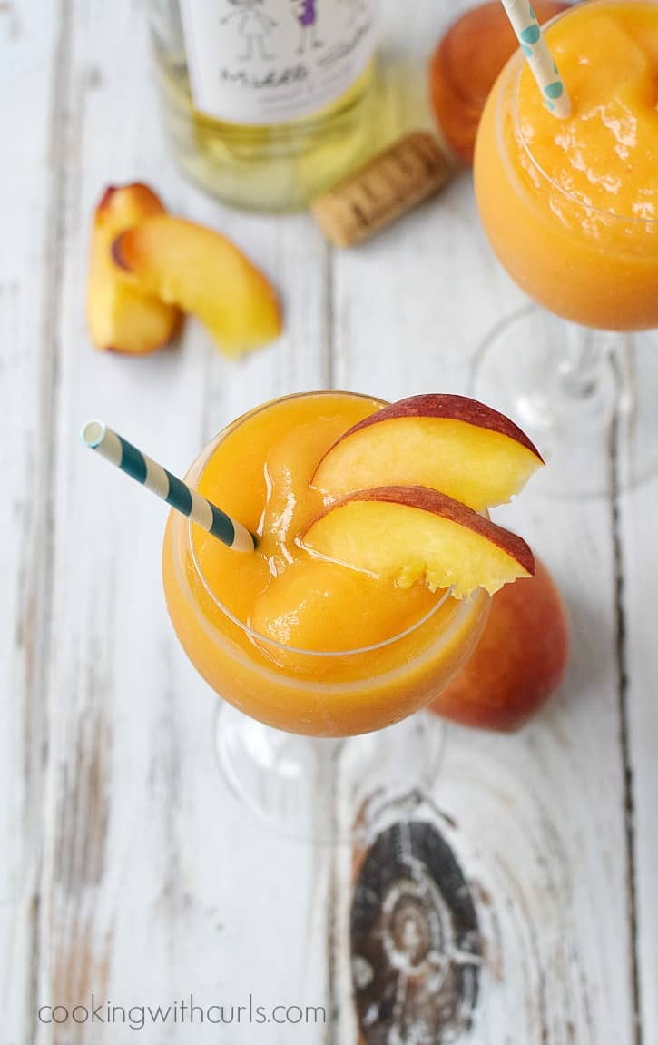 Peach  Moscato Smoothies in a wine glass