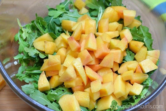 Couscous Salad with Peaches and Arugula mix cookingwithcurls.com