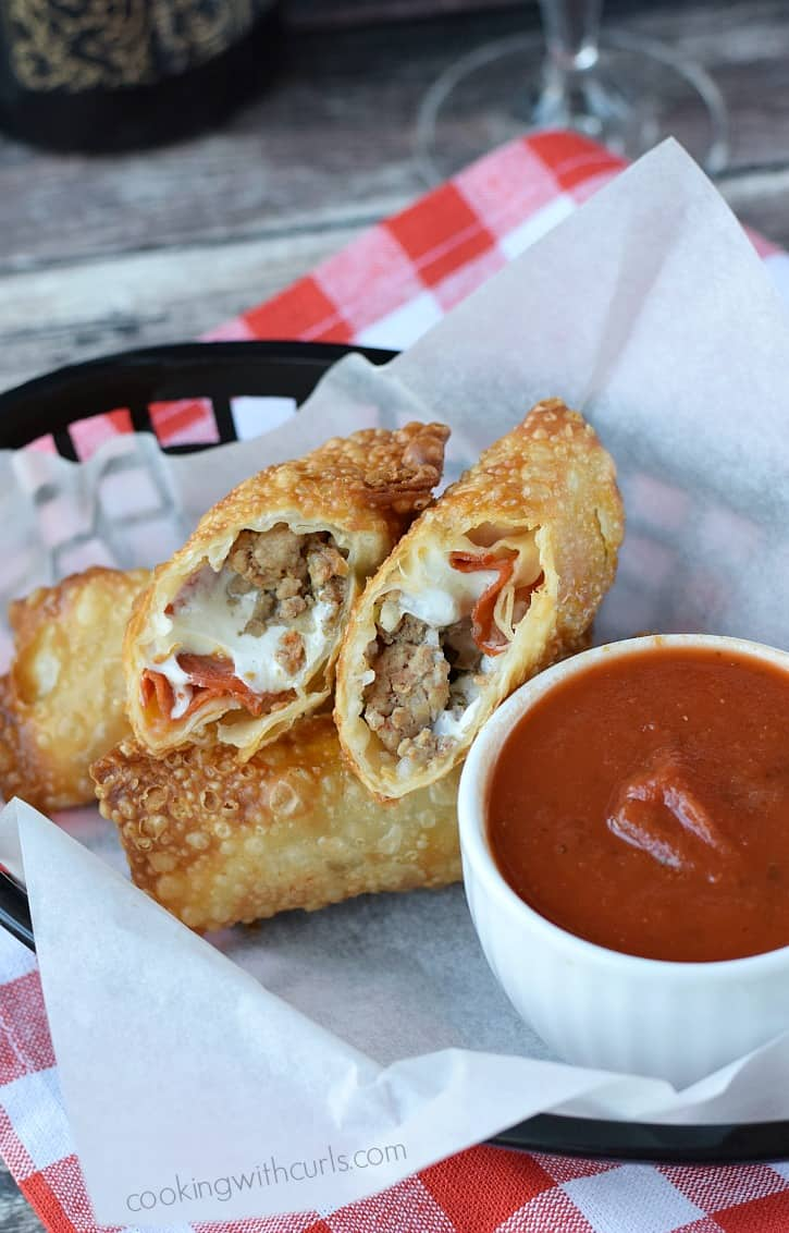 Meat Lover's Pizza Rolls with Homemade Pizza Sauce are for a fun twist on pizza night cookingwithcurls.com