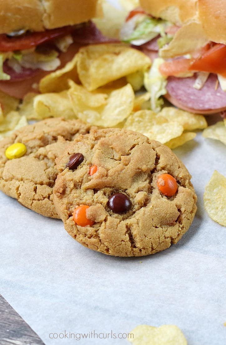 Soft and chewy Peanut Butter Cookies with Reese's Pieces | cookingwithcurls.com