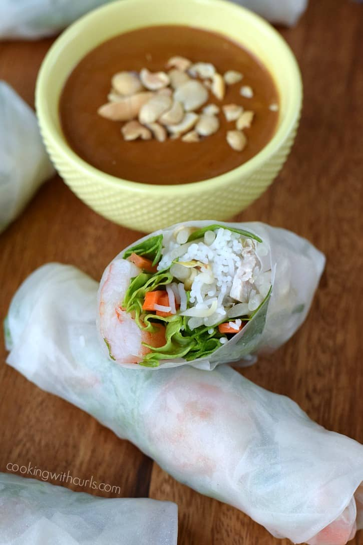 Spring Rolls with Peanut Sauce | cookingwithcurls.com