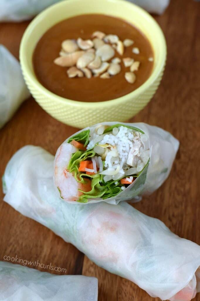 Vietnamese Spring Rolls With Peanut Sauce Cooking With Curls