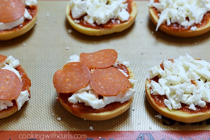 Bagel Pizzas pepperoni cookingwithcurls.com