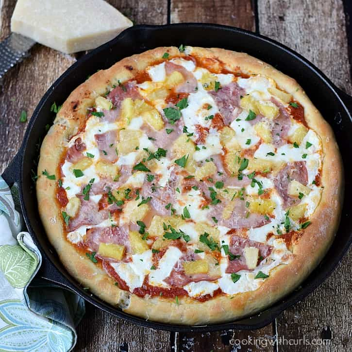 Deep Dish Hawaiian Pizza baked in a cast iron skillet | cookingwithcurls.com