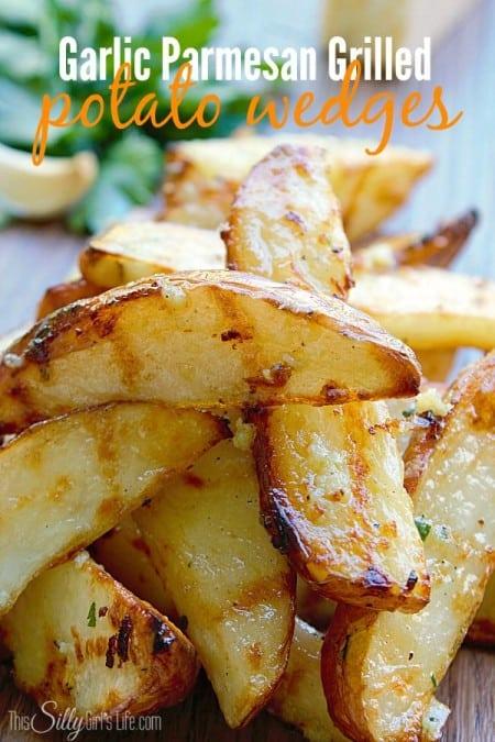 Garlic Parmesan Grilled Potato Wedges