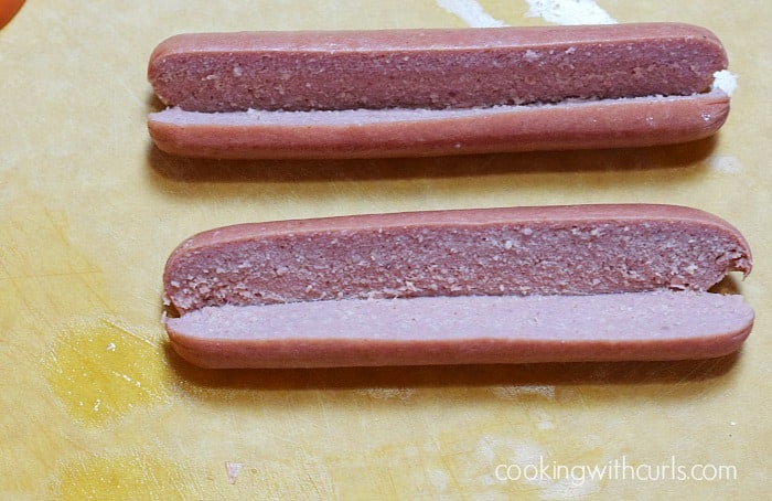 Greek Hot Dogs slice cookingwithcurls.com