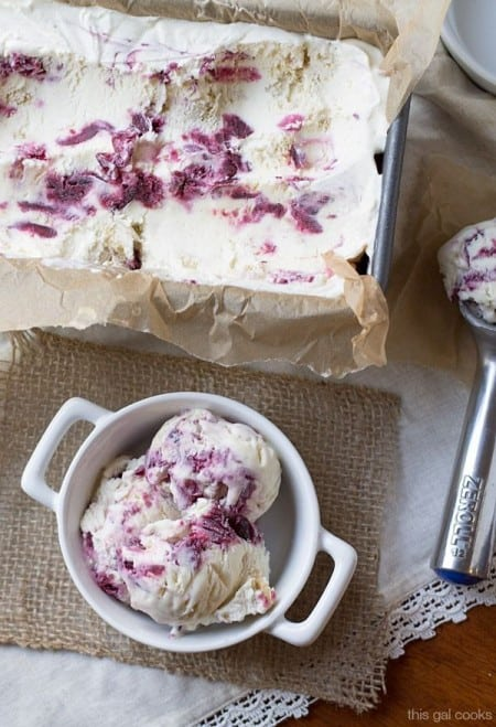 No Churn Cherry Cobbler Ice Cream