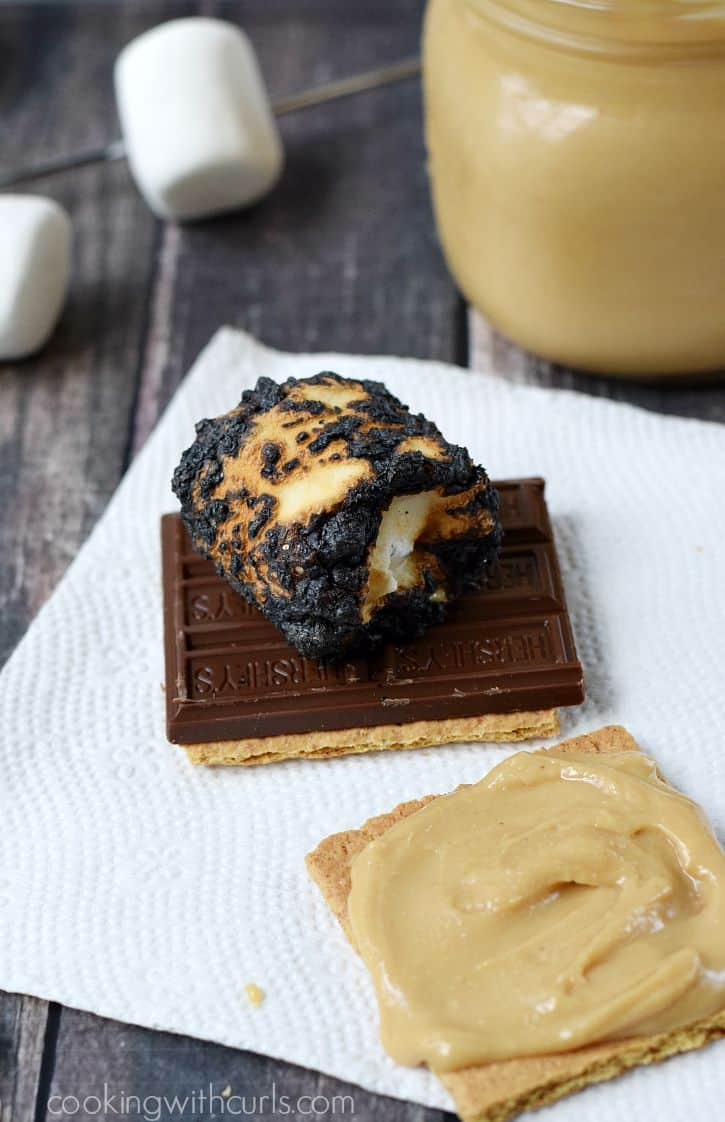 Outdoor S'mores with Homemade Peanut Butter, perfectly charred marshmallows, and Hershey's chocolate bars | cookingwithcurls.com #LetsMakeSmores #Ad