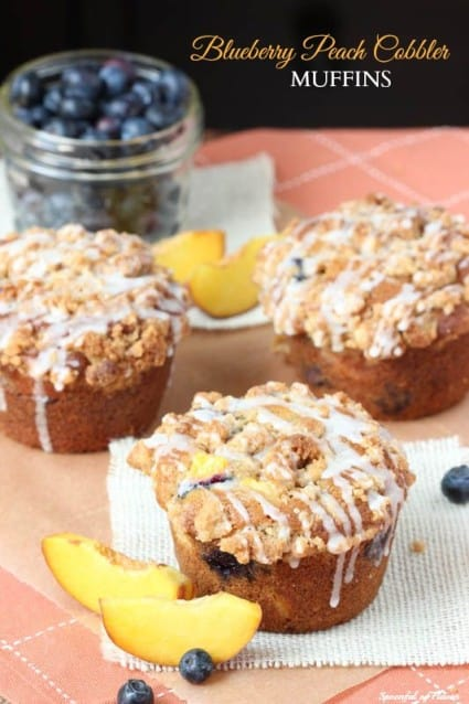 Blueberry Peach Cobbler Muffins
