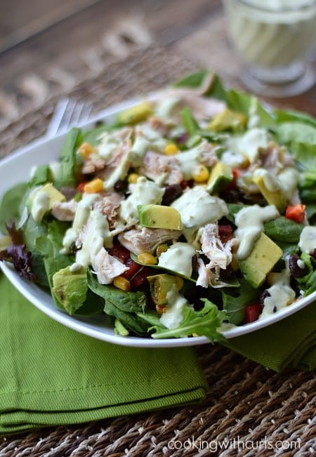 Southwest Chicken Salad for Spring with Guacamole Ranch Dressing | cookingwithcurls.com