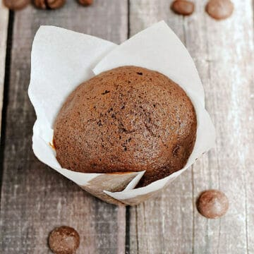 Chocolate muffin in white paper liner surrounded by coffee beans and dark chocolate chips.