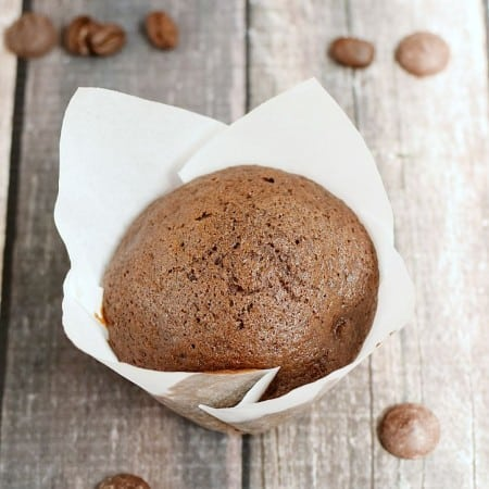 Moist and delicious Mocha Chip Muffins loaded with chocolate chips and espresso make the perfect morning treat | cookingwithcurls.com