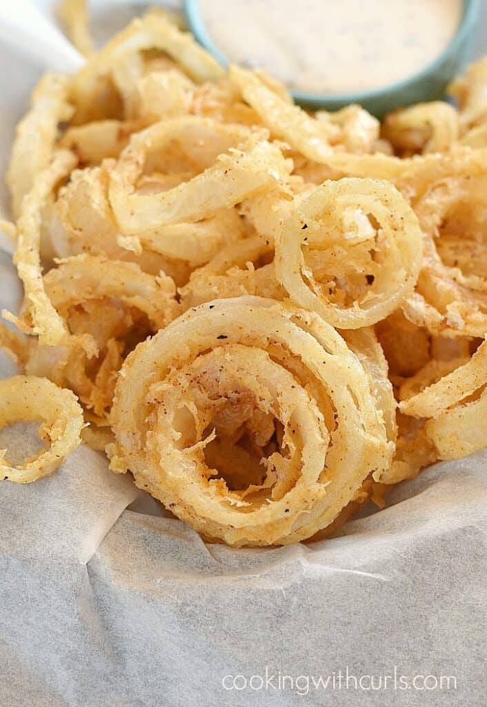 Crispy Onion Rings are the perfect appetizer on game day! cookingwithcurls.com