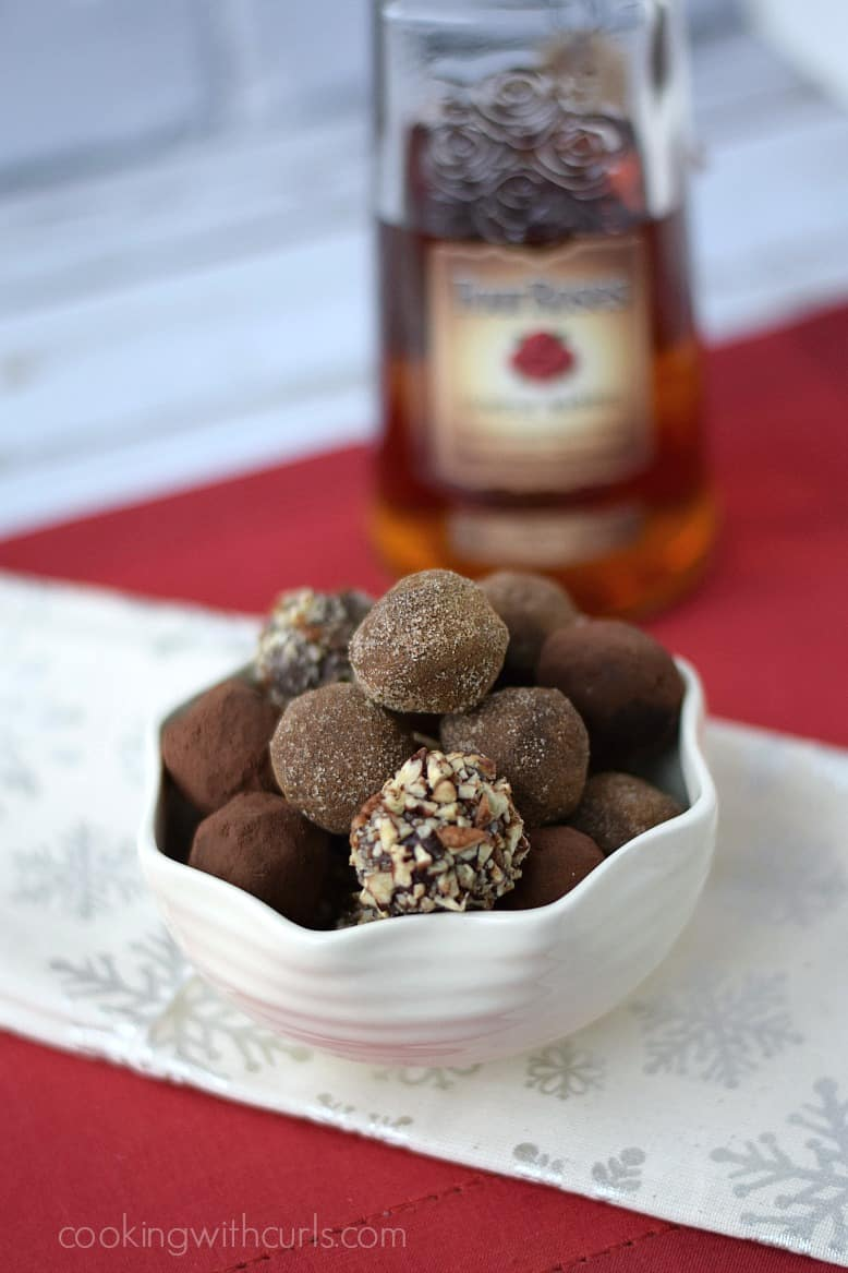 Dark Chocolate Bourbon Truffles cookingwithcurls.com #FourRosesBourbon