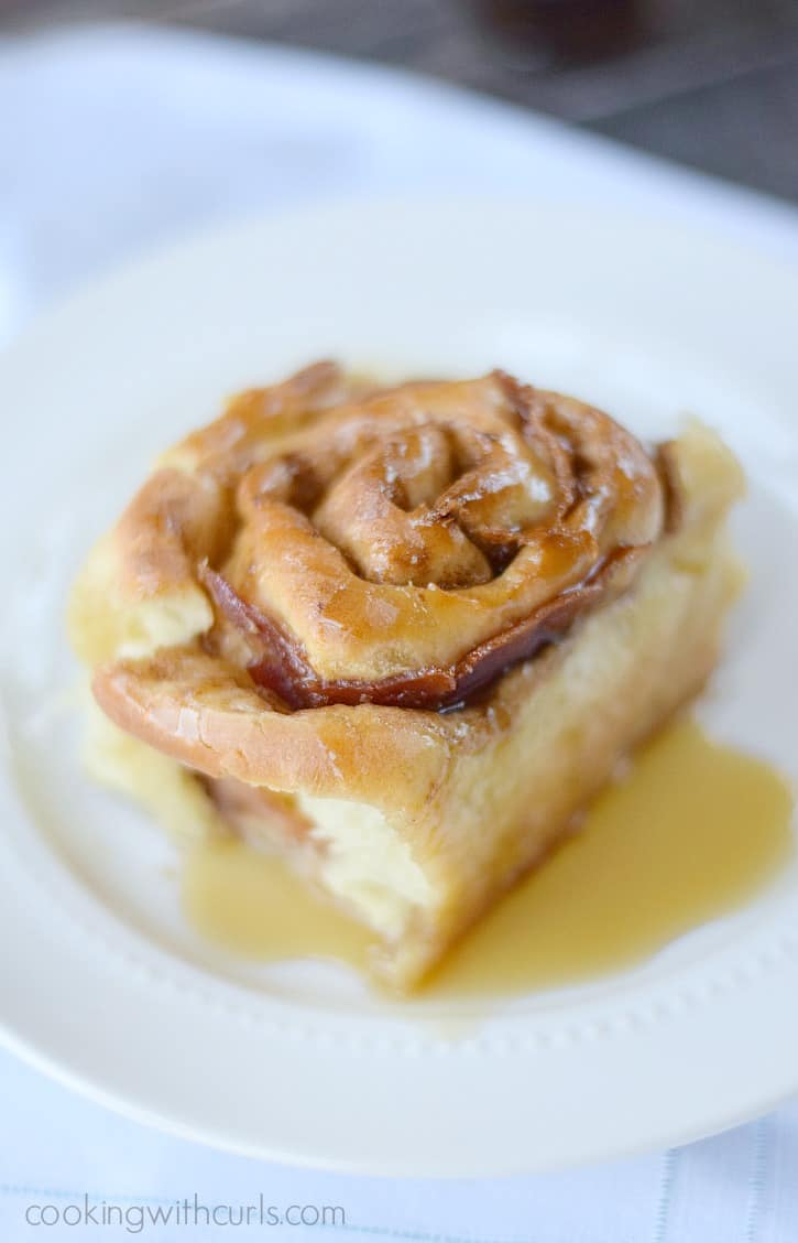 Maple Bacon Cinnamon Rolls hot and fresh from the oven - You're welcome cookingwithcurls.com