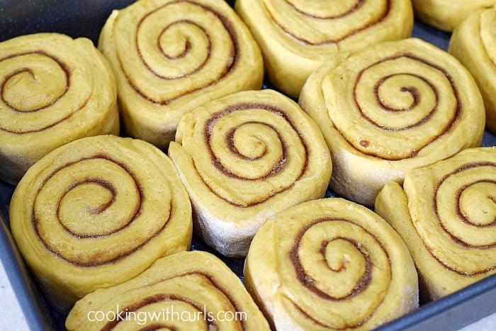 Pumpkin Cinnamon Rolls pan cookingwithcurls.com