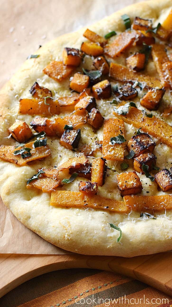 Butternut Squash Pizza will be a fun addition to pizza night! cookingwithcurls.com