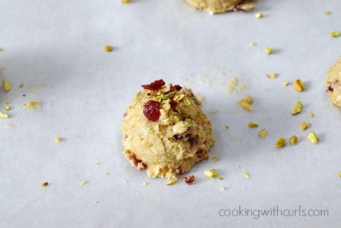 Cranberry Orange Pistachio Cookies pan cookingwithcurls.com